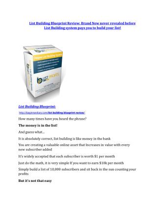 List Building Blueprint review in particular - List Building Blueprint bonus