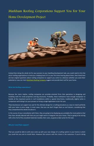 Markham Roofing Company