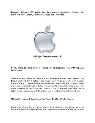 Eastpoint Software iOS Mobile App Development Cambridge, London, UK, Richmond, West London, Chelmsford, Surrey and Colch