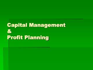 Capital Management & Profit Planning