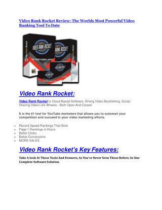 Video Rank Rocket Review-TRUST about Video Rank Rocket and 80% discount