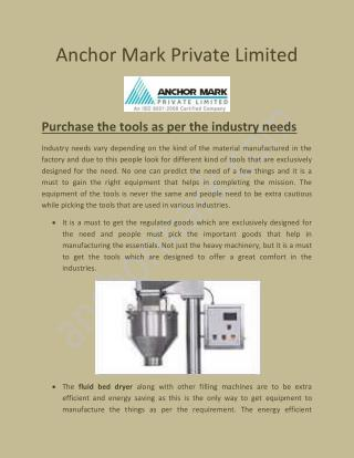 Automatic Capsule Filling Machine, Dry Powder Filling Machine - anchormark.com