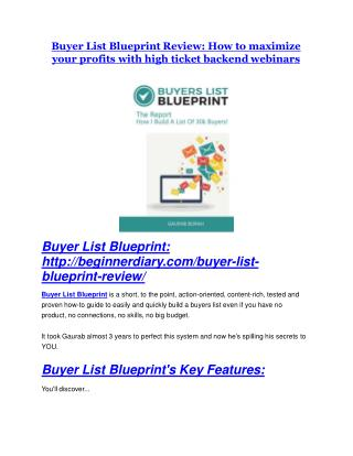 Buyer List Blueprint Review-$32,400 bonus & discount