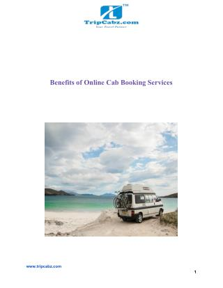 Benefits of Online Cab Booking Services