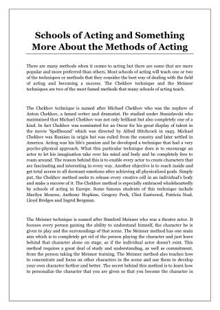Schools of Acting and Something More About the Methods of Acting