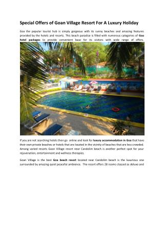 Special Offers of Goan Village Resort For A Luxury Holiday