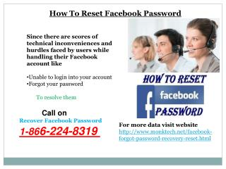 How to reset facebook password call 1-866-224-8319