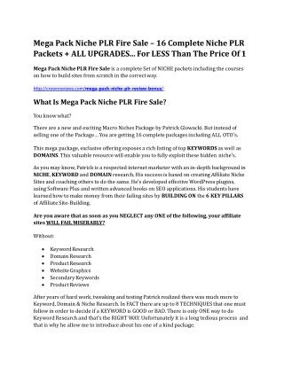 Mega Pack Niche PLR Fire Sale Review & Mega Pack Niche PLR Fire Sale $16,700 bonuses