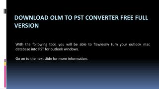 OLM to  PST Converter Full Version