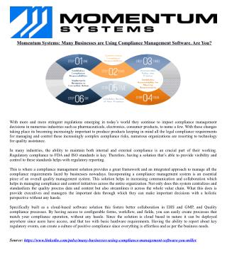 Momentum Systems: Many Businesses are Using Compliance Management Software. Are You?