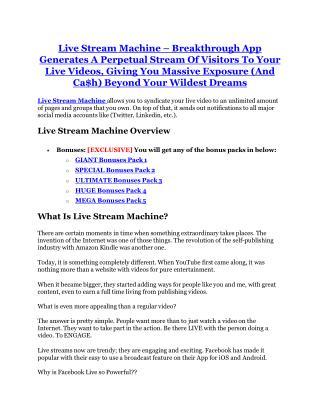 Live Stream Machine Review - (FREE) Bonus of Live Stream Machine