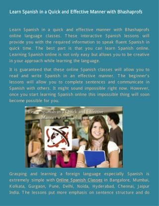 Learn Spanish in a Quick and Effective Manner with Bhashaprofs