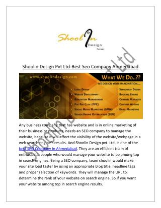 Best Seo Company Ahmedabad - Shoolin Design Pvt Ltd