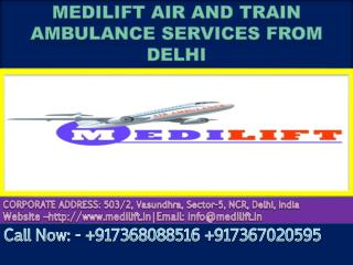 Get Medilift Air and Train Ambulance Services in Delhi at Low cost