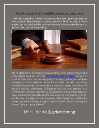 Why Getting the Best Criminal Defense Lawyer is Imperative