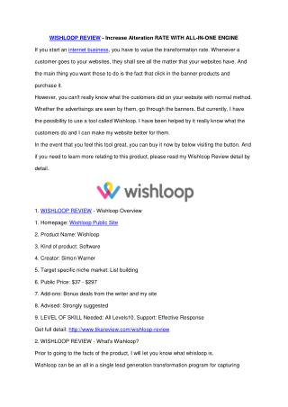 Wishloop Review - Why SHOULD you NEED it ?