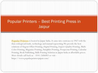 Popular Printers – Best Digital Printing in Jaipur
