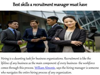 William Almonte Mahwah New Jersey - Best Skills a Recruitment Manager Must Have
