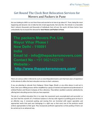 Get Round The Clock Best Relocation Services for Movers and Packers in Pune
