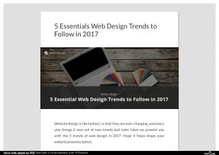 5 Essentials Web Design Trends to Follow in 2017