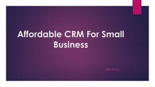 Affordable CRM For Small Business