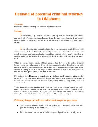 Demand of potential criminal attorney in Oklahoma