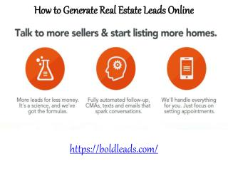 Bold Leads - How to Generate Real Estate Leads Online