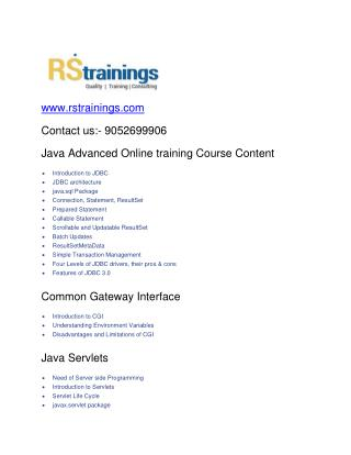 JAVA Advanced  Online classes Training course content