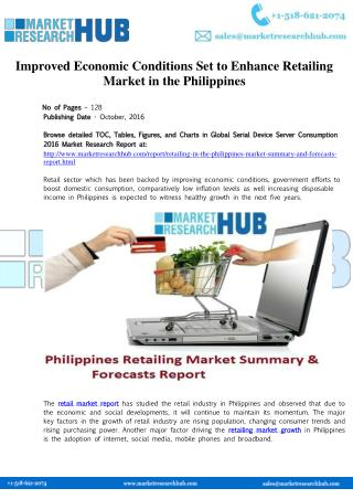 Improved Economic Conditions Set to Enhance Retailing Market in the Philippines