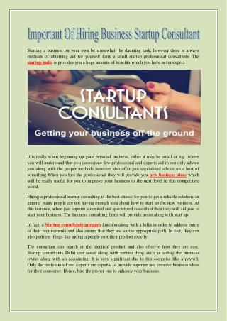 Important of Hiring Business Startup Consultant