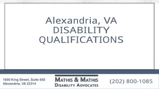 Alexandria, Va Disability Qualifications