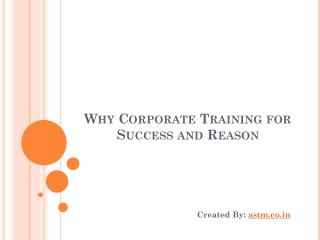Why Corporate Training For Success And Reason