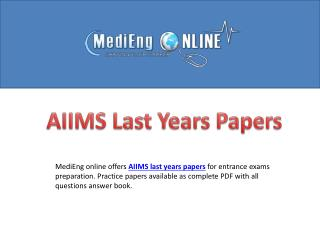 AIIMS Previous Years Solved Question Papers