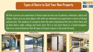 Types of Doors to Suit Your New Property