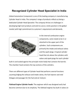 Recognized Cylinder Head Specialist in India