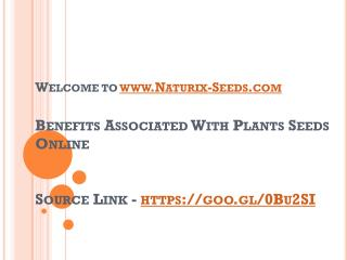 Benefits Associated With Plants Seeds Online
