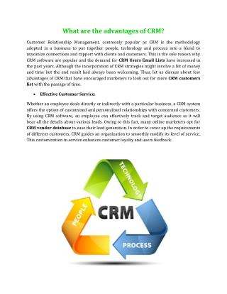 What are the advantages of CRM