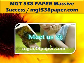 MGT 538 PAPER Massive Success / mgt538paper.com