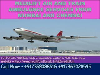 Medilift Air and Train Ambulance Services in Mumbai and Chennai at Low cost