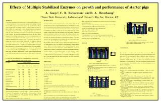 Effects of Multiple Stabilized Enzymes on growth and performance of starter pigs