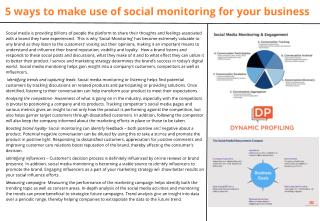 5 ways to make use of social monitoring for your business