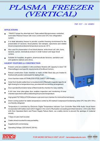 Plasma Freezer | Manufacturer and Supplier | Tanco Lab Products