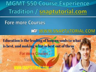 MGMT 550 Course Experience Tradition / snaptutorial.com