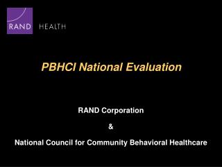 PBHCI National Evaluation