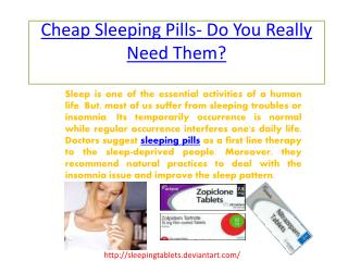 Buy Sleeping Pills for Sleeping Troubles or Insomnia