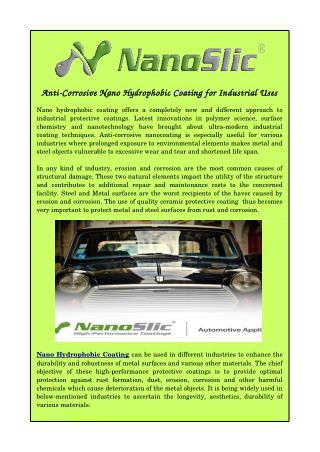 Anti-Corrosive Nano Hydrophobic Coating for Industrial Uses