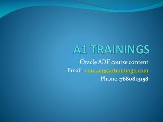 Oracle ADF online training course content