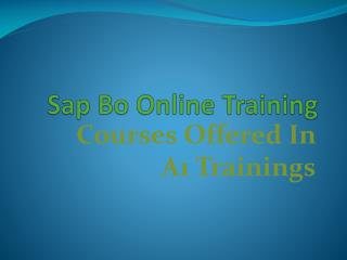 Sap bo online training - course content