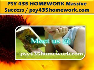 PSY 435 HOMEWORK Massive Success / psy435homework.com