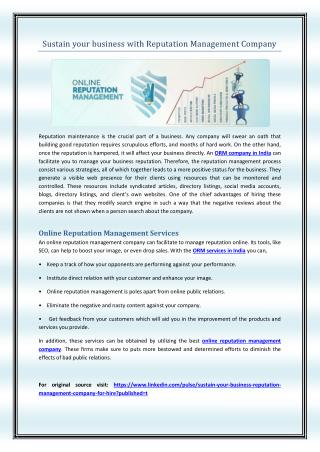 Sustain your business with Reputation Management Company